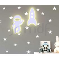Kit 2 Luminosos Decorativos Foguete + Astronauta - J & R Personalização Em Mdf