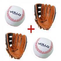 Kit 2 Luva Baseball Tam. 12,5  + 2 Bolas Tam. 9  Vollo  Vollo Sports -