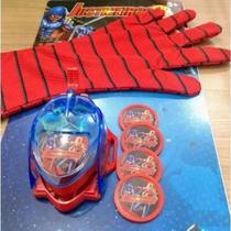 Kit 2 Luvas Brinquedo Infantil Luva Homem Aranha Spider Lança Disco Vingadores Avengers Crianças -