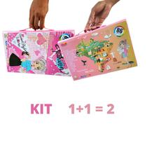 Kit 2 Maleta Escolar Pintura 86 Pçs Canetinha Giz Lápis Top - Artzone