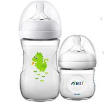 Kit 2 Mamadeira Bebê Anticolica 125/260ml 1m+ Bico Ultra Suave Flexivel Pétala Philips Avent Dragão Neutro -