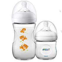 Kit 2 Mamadeira Bebê Anticolica 125/260ml 1m+ Bico Ultra Suave Flexivel Pétala Philips Avent Tigre Neutro -