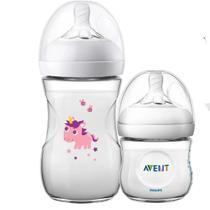 Kit 2 Mamadeira Bebê Anticolica 125/260ml 1m+ Bico Ultra Suave Flexivel Pétala Philips Avent Unicornio Neutro -