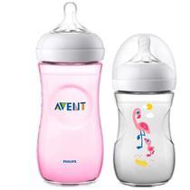 Kit 2 Mamadeira Bebê Anticolica 260/330ml 1m+ Bico Ultra Suave Flexivel Pétala Philips Avent Flamingo Rosa -