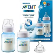 Kit 2 Mamadeiras Avent Anticolica 125ml 260ml Com Bico 1m+ Até 6m+ Philips Classic Azul - Philips Avent