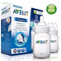 Kit 2 Mamadeiras Classica 260ml Anticólica Transparente AVENT - Philips Avent