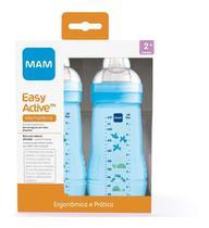 Kit 2 Mamadeiras Mam Easy Active 270ml 2+ Meses Azul Menino -