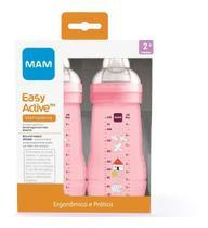 Kit 2 Mamadeiras Mam Easy Active 270ml 4+ Meses Rosa Menina -
