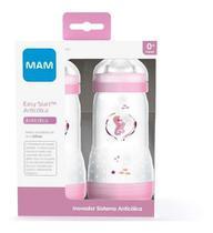 Kit 2 Mamadeiras Mam Rosa Anticolica Easy Start 320ml 4+ Mes -
