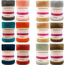 Kit 2 Manta Cobertor Queen Microfibra Soft Macia Fleece 220x240cm Camesa - Emcompre -