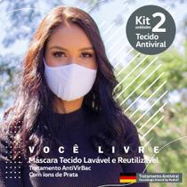 Kit 2 Máscaras Tecido AntiVirBac Filtragem Compatível N95 Lavável Anatômica Íons de Prata Branca - Brasilm
