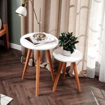 Kit 2 Mesinha Lateral Retrô Design Moderno Apoio de Vasos Quadro Decoração de Ambientes Branco - Utildecore -