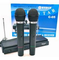 Kit 2 Microfones S/fio Receptor Para Karaokê Palesta Igrejas - WVNGR