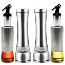 Kit 2 Moedores Sal Pimenta De Inox + 2 Porta Azeite Aço Inox - Facibom