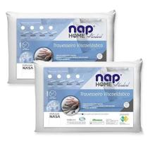 Kit 2 Nap Travesseiro Viscoelastico Nap Home Standart Espuma Nasa TR10S01 Perfil Baixo 10 cm -