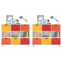 Kit 2 Nichos Organizadores com Rodízios Toys 6 Gavetas Branco/Colorido - Mpozenato - Mpozenato - Qmv