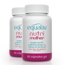 Kit 2 Nutri Mulher Polivitamínico de A a Z Equaliv 90 cápsulas gel -
