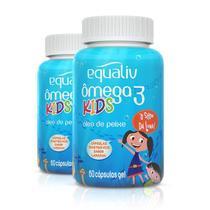 Kit 2 Ômega 3 Pro Kids Equaliv 60 cápsulas Sabor Laranja -