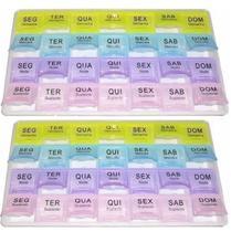 Kit 2 Organizador de Comprimidos Semanal Colorido para Medicamentos - Unica