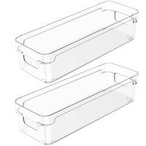 Kit 2 Organizadores De Armário 30x10x7cm Caixas Organizadoras Retangulares Com Alças Clear OU -
