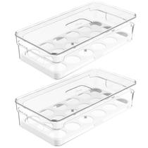 Kit 2 Organizadores Porta Ovos Com Tampa 16 Un Caixas De Armazenamento Para Ovos Clear Fresh OU -