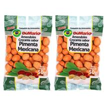 Kit 2 Pacotes Amendoim Crocante Sabor Pimenta Mexicana 50 gramas - Amendoim dumario