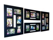 Kit 2 Painel de 6 Fotos 10x15 e 2 Painel de 3 Fotos 10x15 Preto - Camila Artesanatos
