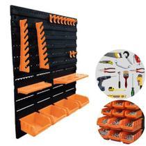 Kit 2 Painel Organizador Porta Ferramentas 18Pçs Gancho Caixa Parede Perfurado - A06304 Ajax -