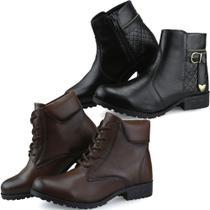 Kit 2 Pares de Bota Casual Feminina Preta e Capuccino - Dl Shoes