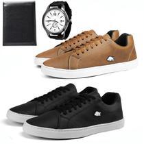 Kit 2 Pares De Sapatênis Casual Masculino Com Carteira + Relógio Quartz - Sw Shoes