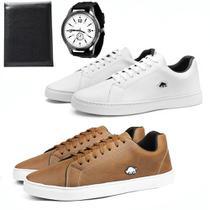 Kit 2 Pares De Sapatênis Casual Masculino Com Carteira + Relógio - Sw Shoes