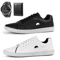 Kit 2 Pares Sapatênis Casual Sw Shoes Com Relógio e Carteira Branco e Preto -
