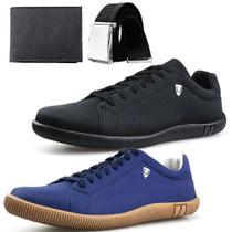 Kit 2 Pares Sapatenis Dhl SW Masculino Preto + Azul + Cinto + Carteira - Dhl Calçados