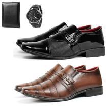 Kit 2 Pares Sapato Social Masculino Preto E Capuccino Com Carteira E Relógio Lançamento Sw Shoes -
