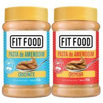 Kit 2 Pasta de Amendoim Integral Cremosa + Crocante Fit Food 450g -