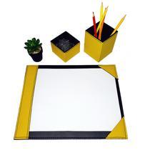 Kit 2 pç risque a4 + caneta e clips escritório amarelo - Apparatos