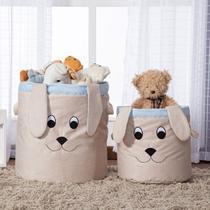 Kit 2 Peças Cestos Organizadores de Brinquedos e Roupas com Alça Suede Cachorro Azul e Bege - Mais que Baby