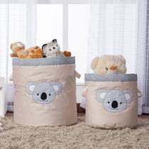 Kit 2 Peças Cestos Organizadores de Brinquedos e Roupas com Alça Suede Coala Cinza e Bege - Mais Que Baby