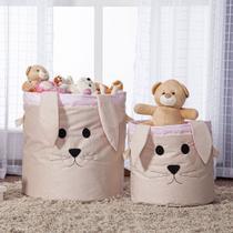 Kit 2 Peças Cestos Organizadores de Brinquedos e Roupas com Alça Suede Coelha Rosa e Bege - Mais que Baby