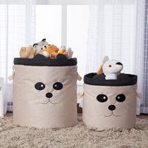 Kit 2 Peças Cestos Organizadores de Brinquedos e Roupas com Alça Suede Panda Preto e Bege - Mais Que Baby