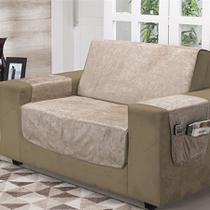 Kit 2 peças protetor de sofá suede amassado 2 e 3 lugares - nc home -