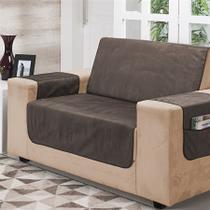 Kit 2 peças protetor de sofá suede liso 2 e 3 lugares - nc home -