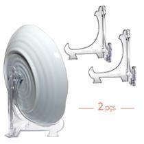 Kit 2 Peças Suporte P/ Pratos Acrílico Transparente 24cm -