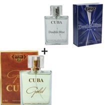Kit 2 Perfumes Cuba 100ml cada  Cuba Double Bleu + Gold -