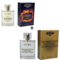 Kit 2 Perfumes Cuba 100ml cada  Dangerous + Double Gold -