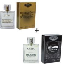 Kit 2 Perfumes Cuba 100ml cada  Double Gold + Individual Black -