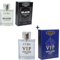 Kit 2 Perfumes Cuba 100ml cada  Individual Black Platinum + Vip New York -