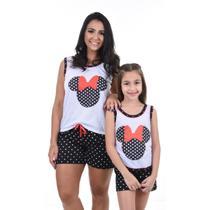 Kit 2 Pijamas Curto Mãe E Filha Baby Doll Minnie Disney Verão - Pérola Pijamas