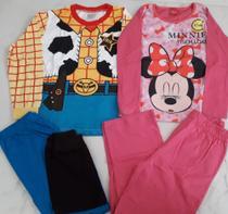 Kit 2 Pijamas Menino/menina Personagens  (Menino 6/7 anos menina 3/4 anos) - Ranna Bebe