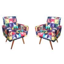 Kit 2 Poltrona Cadeira Decorativa Para Sala Moveis  suede estampado quadrados coloridos pés palito castanho - B2Y Magazine